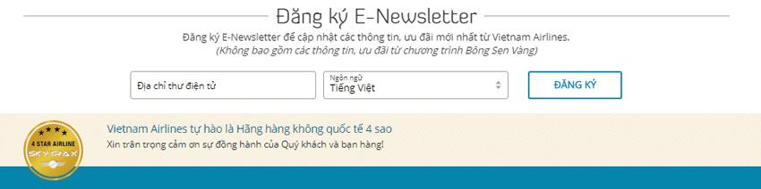 Nhận đăng ký Email từ những Hãng Hàng Không