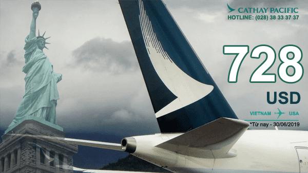 Khuyến mãi Cathay pacific đặt vé máy bay đi Mỹ đến 30/06/2019
