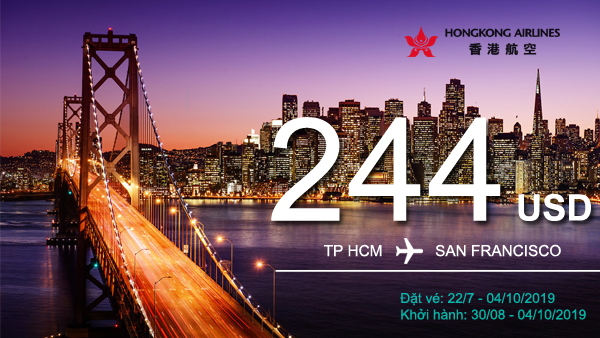 Vé khuyến mãi TP HCM – San Francisco đến 4/10/2019