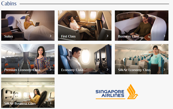 Các hạng ghế của Singapore Airlines