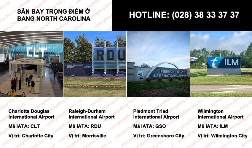 sân bay ở Bang North Carolina