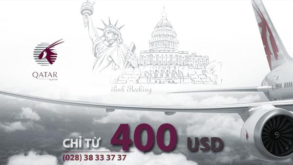 Vé máy bay đi Mỹ giá rẻ hãng Qatar Airways