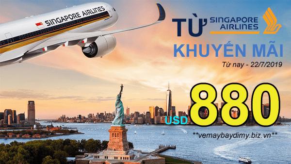 Vé đi Mỹ - Singapore Airlines khuyến mãi đến 22/7/2019