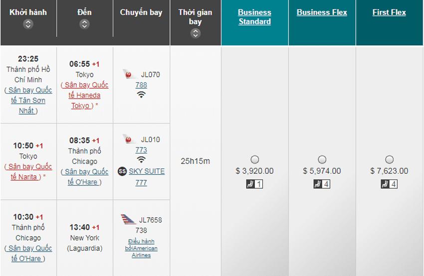 Vé máy bay hạng Thương Gia hãng Japan Airlines